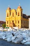 Unirii Vierkante restauratie in Timisoara Roemenië Royalty-vrije Stock Afbeeldingen