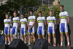UniSA Fachmann-Radsportteam Lizenzfreie Stockbilder