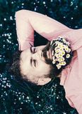 Unisca al concetto della natura L'uomo barbuto con i fiori della margherita mette sul grassplot, fondo dell'erba Uomo con la barb fotografie stock