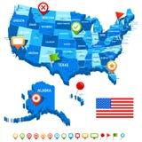 Unisca gli stati (U.S.A.) 3D, la bandiera e le icone di navigazione - illustrazione Immagini Stock Libere da Diritti