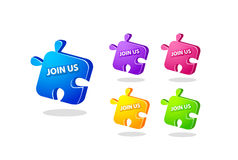 Unisca l'insieme dell'icona di puzzle Immagine Stock