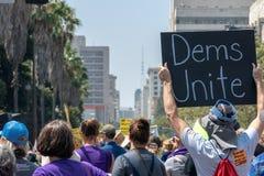Unisca per la giustizia Rally Los Angeles fotografie stock