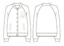 Unisex college bomber jacket technical sketch. Back and front view Stock Photos