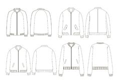Unisex college bomber jacket technical sketches. Back and front view Royalty Free Stock Image