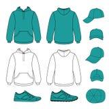 Unisex hoodie, cap, sneakers set Stock Photo