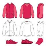Unisex hoodie, cap, sneakers set Stock Images