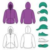 Unisex hoodie, cap, sneakers set Royalty Free Stock Image