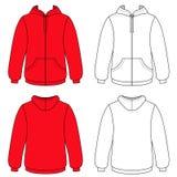 Unisex- hoodie (framdelen & den baksida skisserade sikten) vektor illustrationer