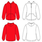 Unisex hoodie (front & back outlined view) Stock Photography