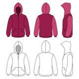Unisex- hoodiemall (framdel, sida & den baksida skisserade sikten) stock illustrationer