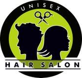 Unisex- logo för hårsalong royaltyfri illustrationer