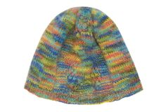 Unisex multicolored knitted cap Stock Photos