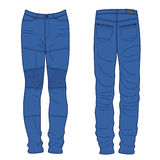 Unisex outlined template jeans front & back view Royalty Free Stock Photography
