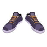 Unisex outlined template sneakers pair front view Royalty Free Stock Images