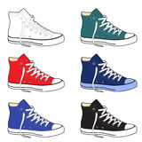 Unisex outlined template sneakers set side view Royalty Free Stock Photography