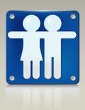 Unisex Placard. Stylish 3D illustration of unisex symbol on a restroom sign. Easy-edit file Stock Photo