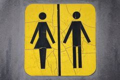 Unisex Restroom Sign. A Yellow Rustic Unisex Restroom Sign Royalty Free Stock Image