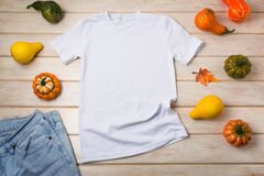Unisex T-shirt mockup with pumpkins
