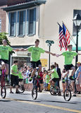 The Unistars Unicycling Showtroupe performing in the Memorial Day Parade Stock Photo