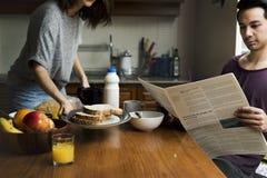 Unità della prima colazione di mattina di cibo di Coouple Fotografie Stock