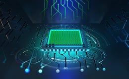 Unità di elaborazione del futuro Concetto del Cyberspace globale Innovazioni in nanotecnologia del computer royalty illustrazione gratis