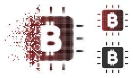 Unità di elaborazione di semitono Chip Icon di Bitcoin del pixel della scintilla Fotografia Stock Libera da Diritti