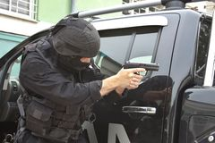 Unità di polizia speciale nell'addestramento Fotografie Stock