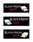 Unità disco sulle insegne di vendita di Black Friday Immagine Stock Libera da Diritti