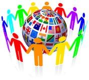 Unità e globo delle bandierine Immagini Stock Libere da Diritti