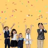 Unità sorridente di amicizia di felicità dei bambini immagine stock libera da diritti