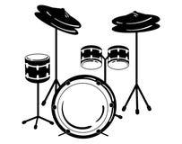 Unité à tambour Illustration de vecteur d'un instrument de musique de percussion Illustration noire et blanche stylisée Concert d Image libre de droits