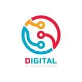 Unité centrale de traitement de processeur de Digital - dirigez le calibre de logo pour l'identité d'entreprise Signe abstrait de Photographie stock