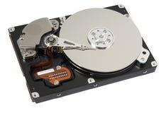 Unité de disque dur ouverte sur le blanc Photo libre de droits