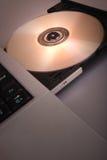 Unité de disques avec du Cd blanc, Dvd (disque compact-ROM) Photographie stock
