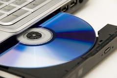 Unité de disques de l'ordinateur portatif DVD Images libres de droits