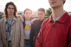 Unité de soutien de bff de fidélité d'amis d'homme de bande de hippie Photos libres de droits