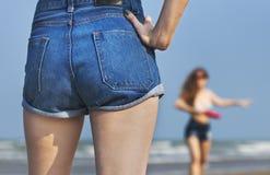 Unité de vacances de vacances d'été de plage de filles photos stock