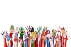 Unité ethnique Conce d'appartenance ethnique de diversité diverse de symbole de drapeau de mains photographie stock