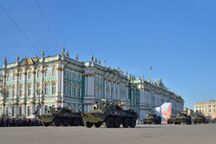 Unit APC the USSR flag on the Palace square during a rehearsal o Royalty Free Stock Photos
