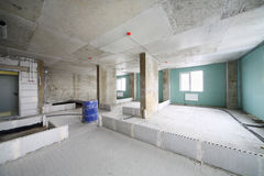 Unit in building under construction without finishing. And with markings of walls Royalty Free Stock Photo