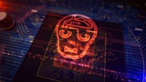 Unit? centrale de traitement ? bord avec l'affichage d'hologramme de forme de t?te d'AI