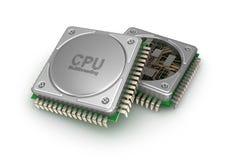 Unité centrale de traitement de processeurs d'ordinateur central, illustration 3D Image stock