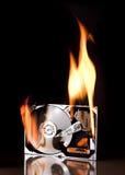 Unité de disque dur sur l'incendie Photographie stock libre de droits