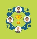 Unité des gens d'affaires menant au succès et à l'attribution Photo stock
