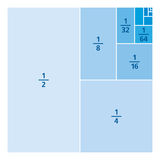 Unit fractions drawn as portions of a square, blue. Unit fractions drawn as portions of a square. One divided by the first six powers of two. First six summands Royalty Free Stock Image
