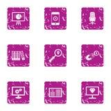 Unit icons set, grunge style. Unit icons set. Grunge set of 9 unit vector icons for web isolated on white background Royalty Free Stock Photos