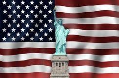 Unit la statue de drapeau d'états de la liberté Photos stock