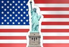 Unit la statue de drapeau d'états de la liberté Image libre de droits