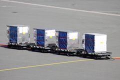 Unit load devices. Airport apron with unit load devices Stock Photo