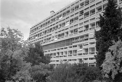 Unite d Habitation in Marseille. MARSEILLE, FRANCE - CIRCA 1995: Unite d Habitation meaning Housing Unit is a modernist residential housing design developed by stock photography